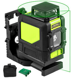 Rotary Laser Level Kit Self leveling 5 Line Green Beam 98 Range 3d Cross 360