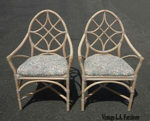 Pair Vintage Mcguire Mid Century Modern Bamboo Rattan Accent Chairs As Is