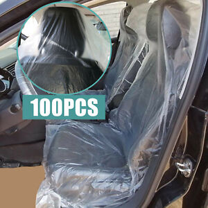 100x Universal Car Disposable Plastic Seat Covers Auto Cushion Cover Waterproof