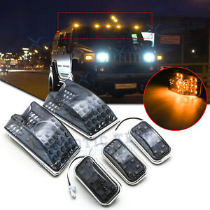 5x Amber Led Smoke Cab Roof Marker Running Lights Assemblies For Hummer H2 03 09