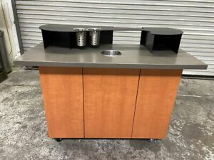 52x23 Condiment Coffee Creamer Cart Trash Waste Station Table Stand 4094