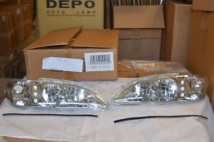 Led Chrome 1 Piece Led Head Lights Marker For 94 98 Ford Mustang 10hla1201lwt