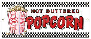 Popcorn Banner Sign Stand Cart Concession Signs