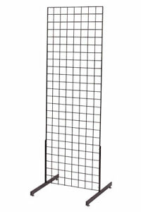 Gridwall Panel Display 2 X 6 Grid Wall Black 2 Legs Standing Fixture Metal