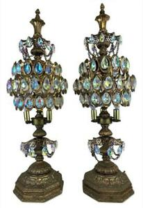 Big Pair Hollywood Regency Kitsch Crystal Chandelier Torchieres Candelabra Lamps