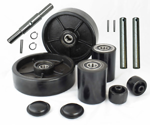 Pallet Jack truck Poly Wheels Full Set With Axles Bearings Entry Rollers Caps