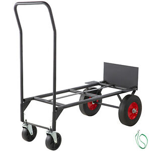 Convertible Hand Cart 200lb 300lb With 10inch Solid Wheels In Black