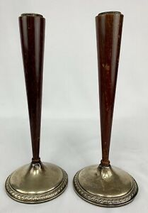 Vintage Artdeco Sterling Silver Candle Stick Holders Rosewood Weighted Pair