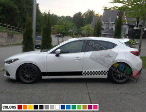 Sticker Decal Graphic Lower Door Stripes For Mazda 3 13 17 Racing Wing Lip Skirt