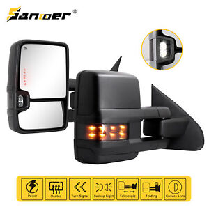 Fit For 14 18 Chevy Silverado Power Heated Smoke Led Arrow Signal Tow Mirrors