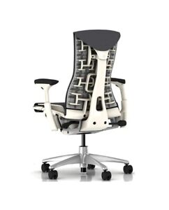 Herman Miller Embody Office Chair Gray Rhythm Fabric With Alpine White Frame
