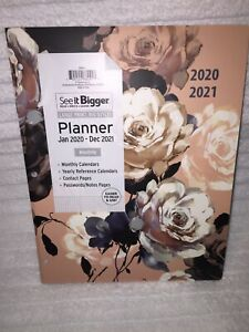 Plan Ahead See It Bigger Large Pink Peony 2 Year Monthly Planner For 2020 2021
