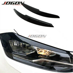 2pcs For Volkswagen Polo Mk5 2011 2017 Headlight Eyebrow Eyelid Cover Trim