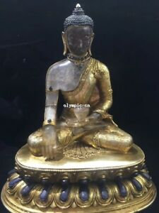 Tibet Nepal Handicraft Bronze Gold Inlay Gem Crystal Carved Gautama Shakyamuni
