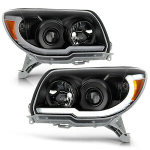 For 06 09 Toyota 4runner Black Led Neon Tube Drl Projector Headlight L r Lamp