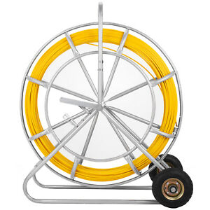 260m 850ft Fish Tape 8mm Fiberglass Wire Cable Rod Push Puller Duct Rodder
