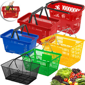 1 2 3 12pcs Shopping Basket Plastic mental Handled on Castors Supermarket