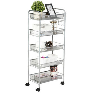 5 Tier Mesh File Storage Rolling Cart Multifunctional Home Kitchen Grey