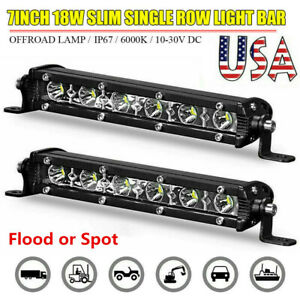 7inch Slim Led Light Bar Work Single Row Spot Flood Offroad Driving 4wd Suv Atv
