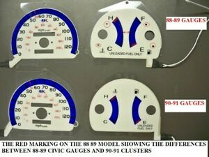 1988 1989 Honda Civic Manual Trans W O Rpm White Face Glow Gauges For Cluster