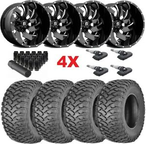 24x12 Black Fuel Wheels Rims Tires 35 12 50 24 Deep 2500 3500 Sierra Silverado