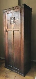 Antique Oak Gothic Church Clergy Wardrobe Closet Armoire Arts And Craft 30 S 20s