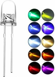 Led Light Emitting Diodes 2pin Assorted Diffused Kit 200pcs 5mm Uv 10 Color 20pc