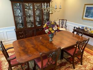 Henkel Harris 2296a Dining Room Table With 6 Chairs And Table Pads