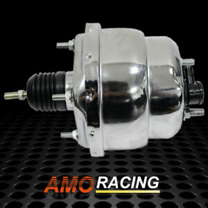 Chrome 7 Dual Diaphragm Power Brake Booster Fit Gm Chevy Ford Street Hot Rod