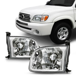 For 00 04 Toyota Tundra regular access Cab Headlight Driving Lamp Chrome Clear