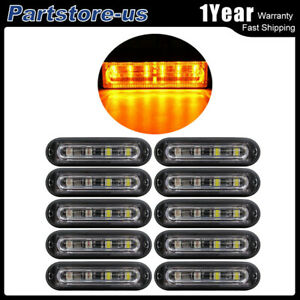 10pc Super Bright 6 Led Waterproof Car Truck Flash Strobe Light Bar Kit Amber