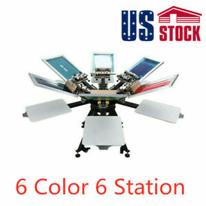 Us 6 Color 6 Station Micro registration Silk Screen Printing Machine Alum Plate