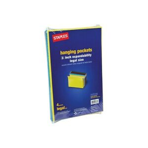 Staples Hanging File Folders 3 5 Expansion Legal Size Assorted 4 pk 781575