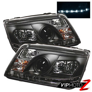 Angel Eye Halo Projector Left right Volkswagen Jetta 99 05 Pair Black Headlights