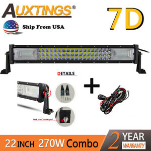 7d Tri Row 21in 22 In 270w Led Work Light Bar Spot Flood For Jeep Truck Wire