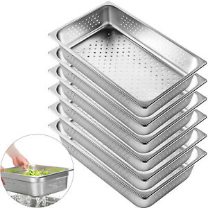 Perforated Steam Table Pan Hotel Full Size 4 deep Stainless Steel Pans 6 Pack