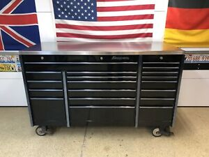 Snap on Triple Bank Roll Tool Box Stainless Steel Top Krl1003 Series Black