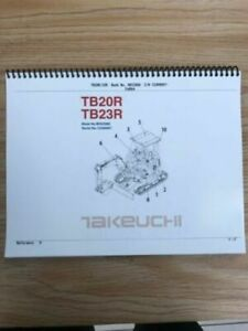 Takeuchi Tb20r Tb23r Parts Manual S n 12300007 And Up Free Priority Shipping