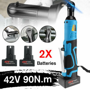 3 8 90nm Electric Cordless Ratchet Right Angle Wrench Tool Set 2battery Socket