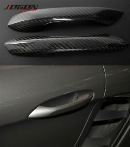For Porsche 718 Boxster Cayman 2016 2020 Dry Carbon Fiber Door Handle Cover Trim