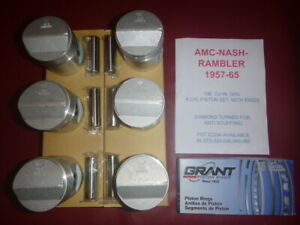 1957 65 Amc Nash Rambler 196 6 Cyl Ohv Piston Ring Set With Pins