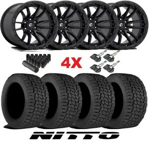 17 Fuel Rebel D679 Wheels Rims Tires Black 285 70 17 Nitto G2 All Terrain