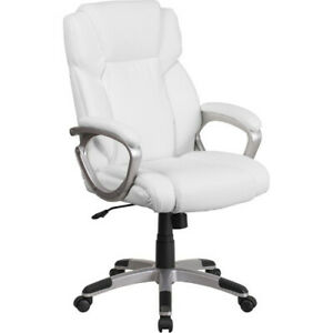 Mid back White Leather Executive Swivel Chair With Padded Arms Flago2236mwhgg