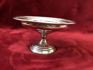 Columbia Sterling Silver Weighted Elegant Compote Floral Rim G34