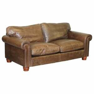 One Of Two Stunning Fishpools Rrp 3099 Heritage Brown Leather 2 3 Seat Sofas