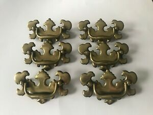 6 Brass Drawer Pulls Cabinet Handles Chippendale Style 3 0 Center To Center