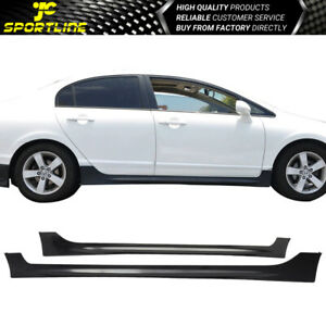 Fits 06 11 Honda Civic Mugen Rr Style Side Skirts Extension Unpainted Pp