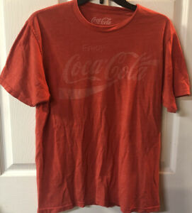 ENJOY COCA-COLA T-shirt Vintage Distressed COKE Soda Tee Men's Medium Red