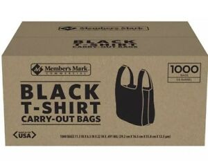 T shirt Thank You Plastic Grocery Store Shopping Carry Out Bag 1000ct Black