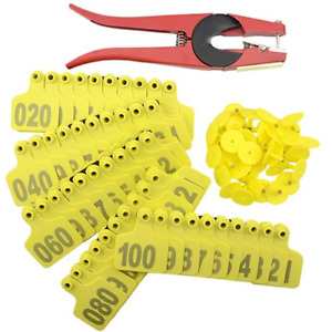 1 100 Number Plastic Livestock Cow Cattle Ear Tag Animal Tag Yellow 1pcs Ear Tag